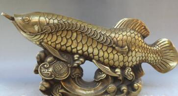 "16"" Chinese Feng Shui Brass Coins Ru Yi Animal Fish Goldfish Wea16"" Chinese Feng Shui Brass Coins Ru Yi Animal Fish Goldfish Wealth Sea Sta"