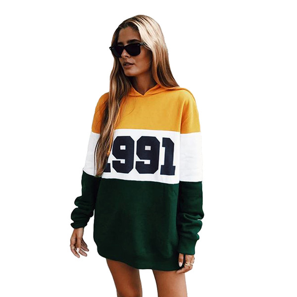 New Fashion Autumn Winter Women Hoodie Sweatshirts Number Color Block Long Sleeve Casual Party Loose Pullover Hooded Tops Yellow