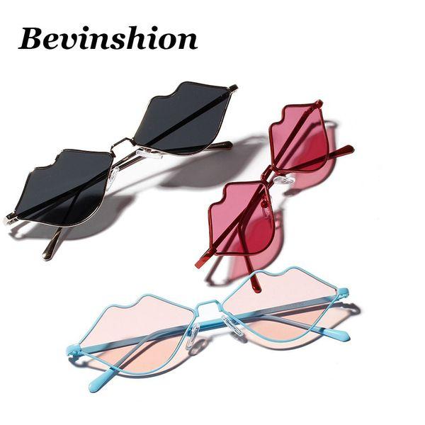 Brand Designer Sexy Red Lip Shape Sunglasses Women Stainless Steel Frame Cat Eye Sun Glasses Female Cute Vintage Colored Lens