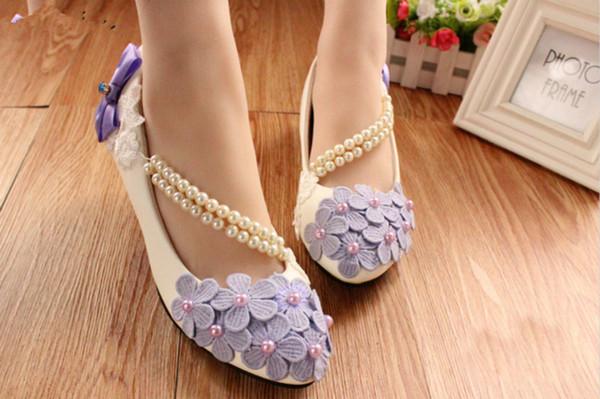Zapatos de mujer púrpura de la correa del tobillo que rebordea la flor Zapatos de la boda del alto talón 8Cm Zapatos de plataforma de la novia Zapatos de la boda 2018 Nuevo