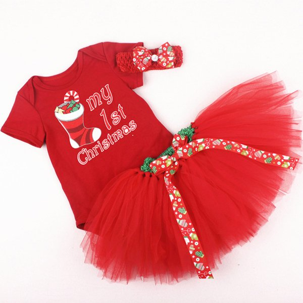 Christmas Romper Skirt Baby Kids Rompers Girl Lace Outfits with Headband Bowknot Tulle Skirt Romper Dress Infant Clothing
