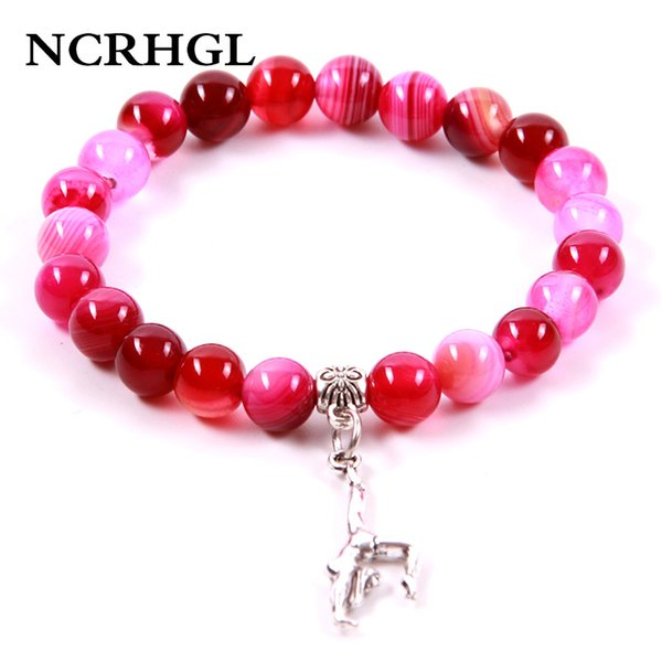 NCRHGL Hot Sale Rose Red Onyx Natural Stone Bracelets 8MM Beads GYM Charm Beaded Bracelet In Natural Jewelry Fashion Women Men