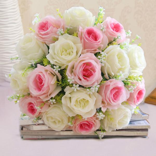Acheter Gros 1 Bouquet 18 Tête De Mariée Faux Roses Faux Artificielle Mariage Holding Fleurs Maison Décorations De Mariage Bouquet Fleur De 9 72 Du