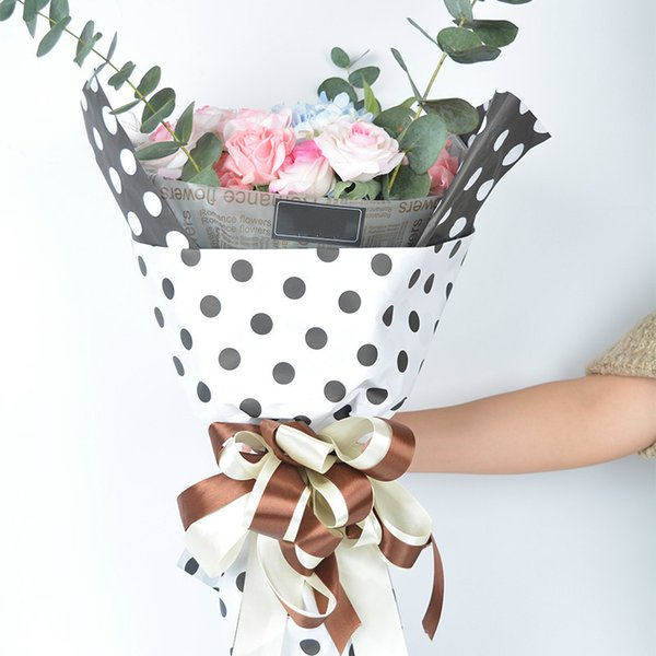 Polka Dots Flowers Wrapping Paper Gift Packaging Paper Korean Floral Bouquet Materials Wedding Decoration Supplies 10pcs/lot haif