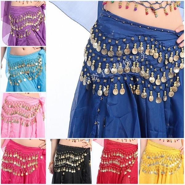Танец живота пояс женщина Леди Египет хип юбка шарф обернуть 12 цветов 3Rows 98Coins девушки шифон талии цепи костюм мода 6 5sc bb