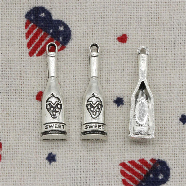 65pcs Charms red wine bottle sweet 30*8mm Antique Silver Pendant Zinc Alloy Jewelry DIY Hand Made Bracelet Necklace Fitting