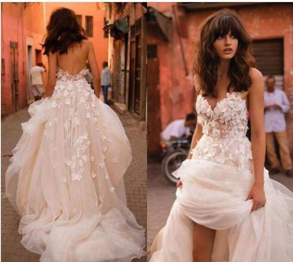 2017 Лиз Мартинес пляж свадебные платья с 3D цветочные V-образным вырезом многоуровневая юбка спинки плюс размер элегантный сад страна малыша свадебные платья