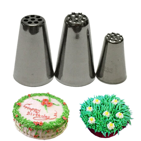 3 pcs Cake Cream Grass Hair Fur Icing Piping Nozzle Cupcake Decorating Tip Tool Sugarcraft Cake Decorating Tools Pastry Tools