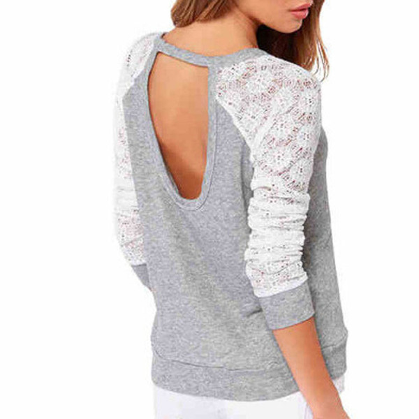 Newcome Summer Style Girls Women Long Sleeve Backless Shirt Embroidery Lace Crochet Blouse Grey Color WF-9178