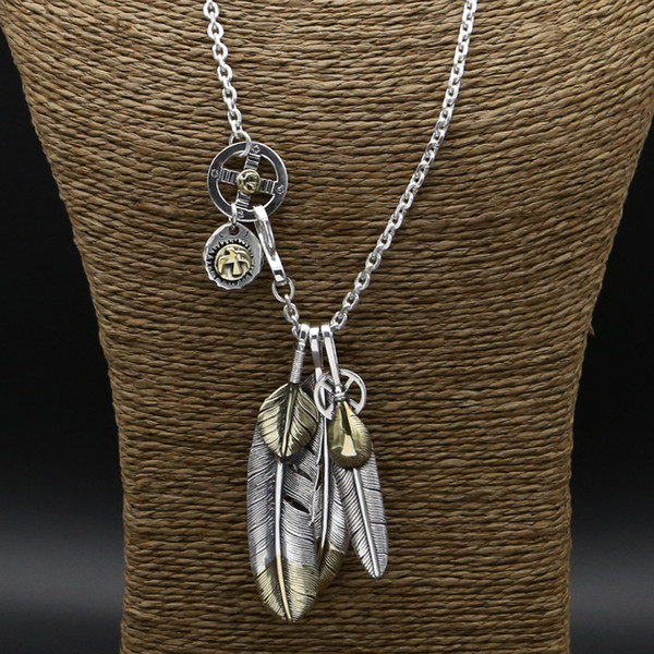 Luxury brand new 925 sterling silver vintage jewelry antique silver hand-made designer eagle sign and feather pendant necklace 60cm of chain