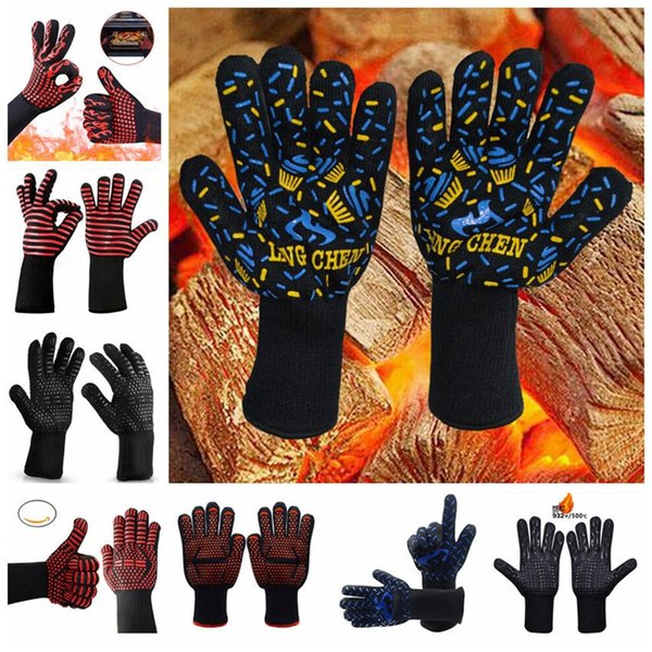 Силиконовые барбекю перчатки изолированная кухня инструмент жаропрочных перчатки противопожарные перчатки барбекю печь нескользящей Митт YL579