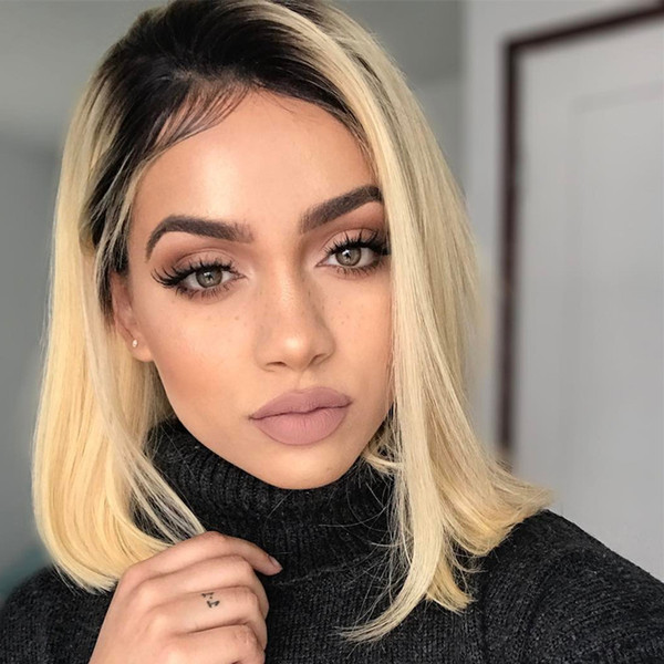 Short Bob #1b 613 Blonde Full Lace Human Hair Wigs 130% Density Brazilian Virgin Remy Human Hair Ombre Two Tone Color Dark Root