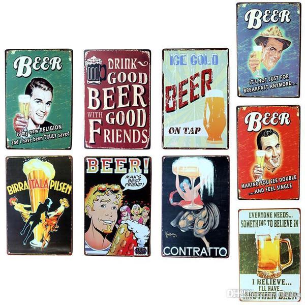 Wholesale- Vintage Metal Tin Sign Drink Good Beer Retro Plaque Poster Bar Pub Club Wall Tavern Garage Home Decor 7 Style 1pcs