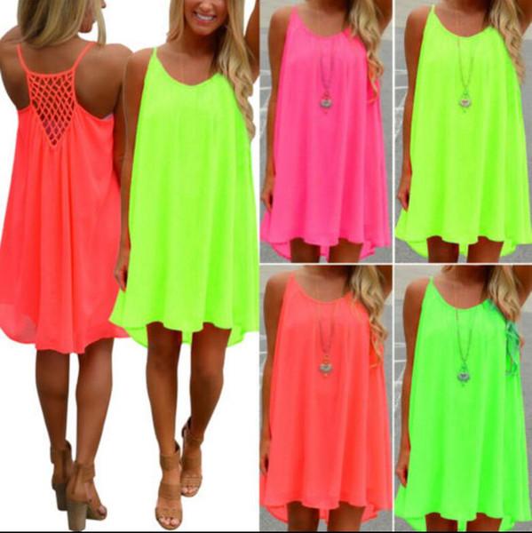 Mulheres vestidos de verão das senhoras saias mulher sexy dress verão chiffon praia mini dress sem mangas partido summer beach vestido de verão kka4086