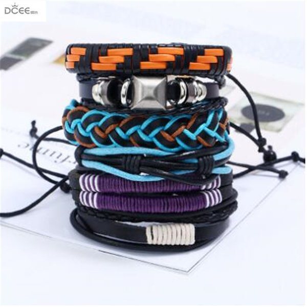 Europe and the United States fashion retro woven leather suit bracele for men,Punk personality 6 pieces of cowhide bracelet