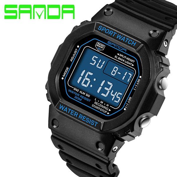 Men Electronic Watch with Alarm Stopwatch Resin Sport Wrist Classic Digital Rubber Alarm Waterproof Outdoor Wristwatches