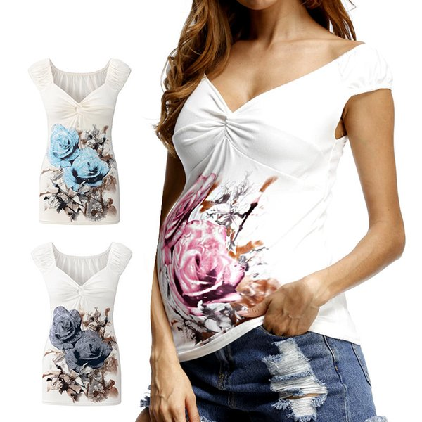 Summer White Maternity T Shirt Fashion Maternity Tops For Pregnant Women Nursing Tops V-Neck Sexy Women Clothes