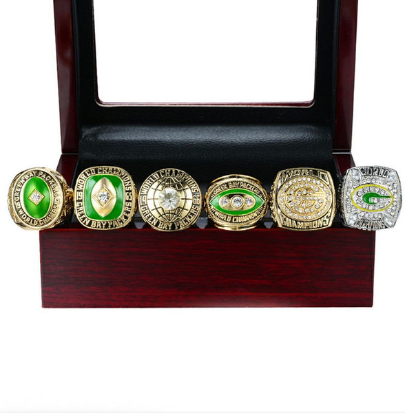 Hot newest style 6pcs Green b a y championship rings set wooden box men fashion for father's day boyftiend gift souvenir