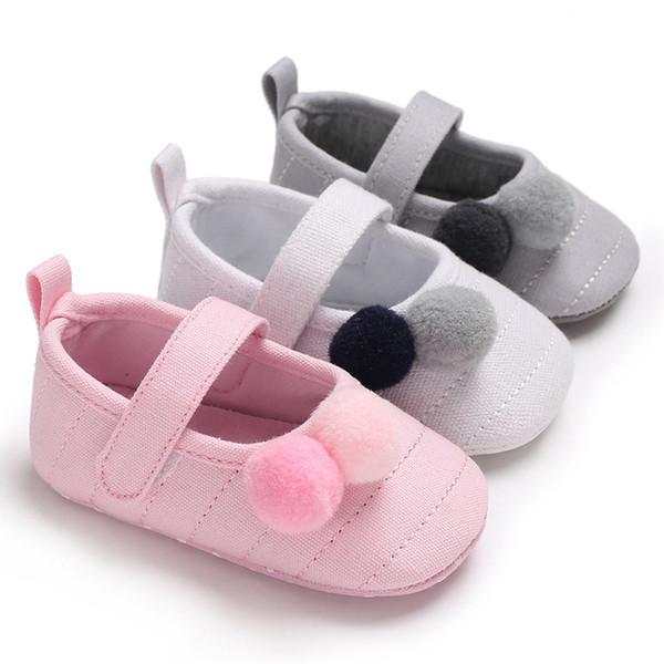 Bavoirsj Square Toe morbido cotone carino ragazze scarpe palle rosa principessa scarpe bambino per il nuovo walker first borns bambini b2031