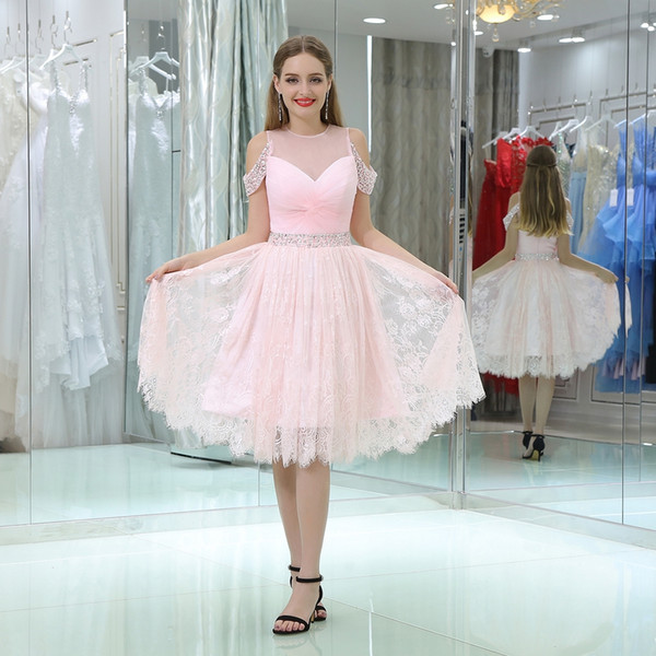 2018 New Design Cute Jewel Short Evening Dresses Lace Embroidery A line Girl Formal Dresses Fashion B02309