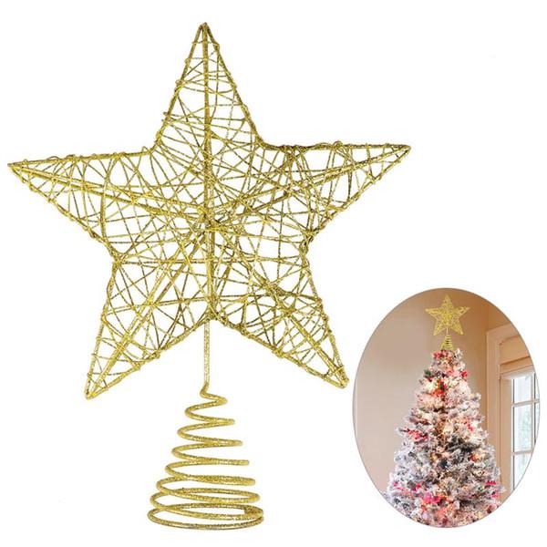 Weihnachtsbaum Metall Spirale.Großhandel Große Glitter Weihnachtsbaum Topper 5 Point Star Metall Treetop Star Für Weihnachtsfeiertagsdekoration Party Golden Von Youergarden