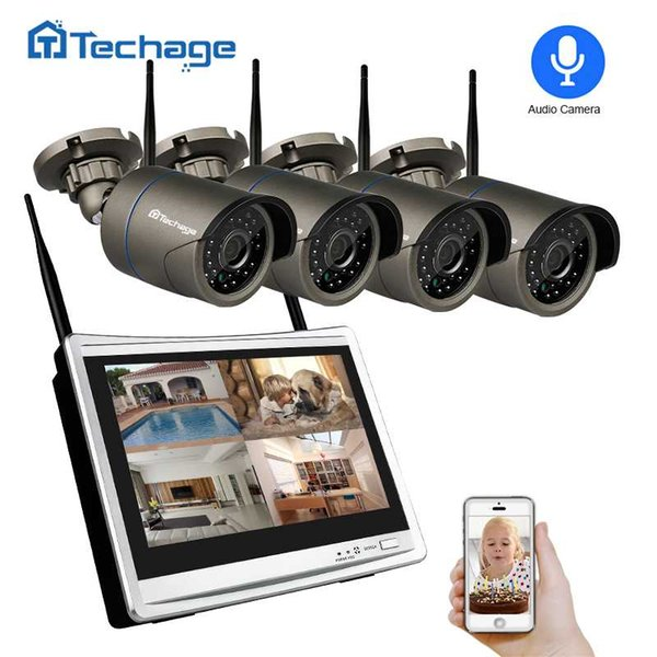 "Techage 4CH 1080P Wireless CCTV System 12"" LCD NVR 2.0MP Outdoor Audio Record Sound Wifi Camera Video Security Surveillance Kit"