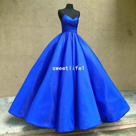 Simple Style 2019 Spaghettiträgern Abendkleider Royal Blue Taft Ballkleid Formelle Anlässe Prom Party Kleid Nach Maß