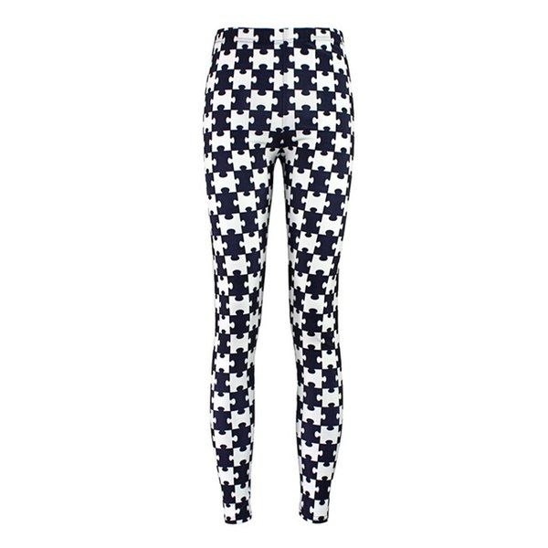 Elastic Casual Pants 3D Digital Printing Black and white puzzle Pattern Women Leggings 7 sizes Fitness Clothing Free Shipping