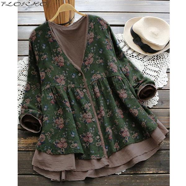 FLORHO Women Floral Blouse Vintage Lace Shirt V-Neck Female Boho Button Cardigan Cotton Floral Tops blusa feminina Plus Size 5XL