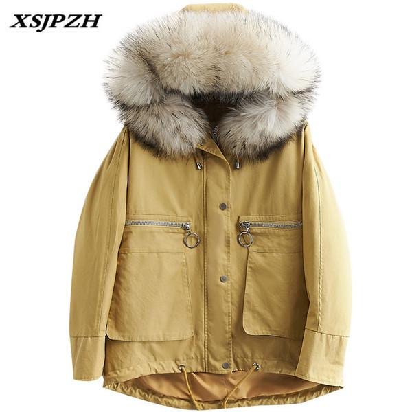 Piumino invernale delle nuove donne 2018 esterno treccia collare dei capelli con cappuccio luccio staccabile fodera spessore caldo cappotto allentato LB262
