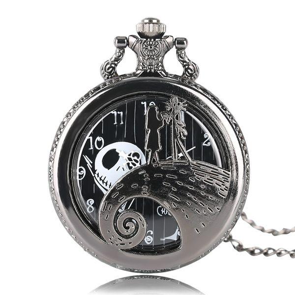 Tim Burton's The Nightmare Before Christmas Pocket Watch 2017 Luxury Pendant Necklace Chain Fashion Xmas Gift for Men Boys Women