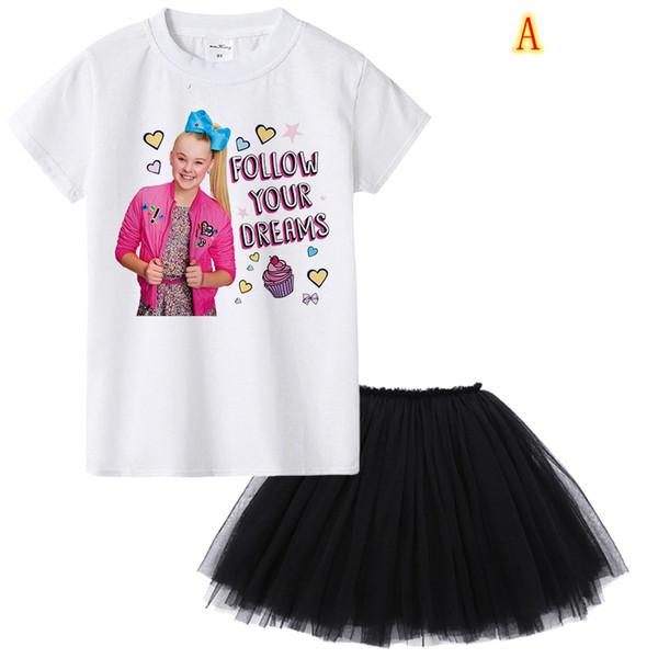 1Y To 12Y Jojo Siwa Girl Summer Clothing Set Fashion Kids Clothes Suit Tops + Tutu Skirt Dress 2 Pcs Baby Roupas Infantis Menina MMA901