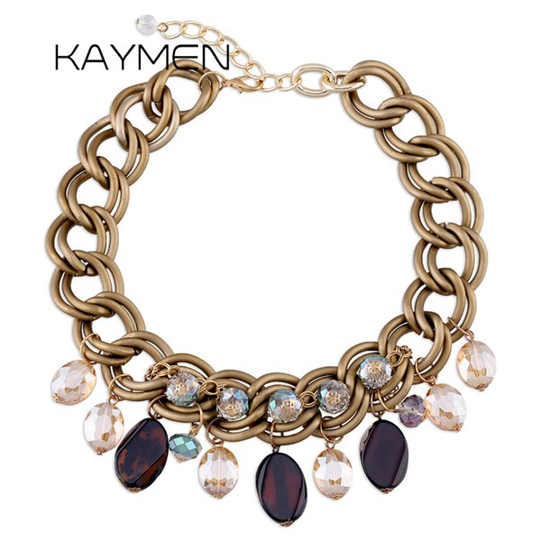 KAYMEN Unique Handmade Natural Stone and Crystals Beads Multi-layers Aluminium Chains Statement Chokers Necklace for Girls Women