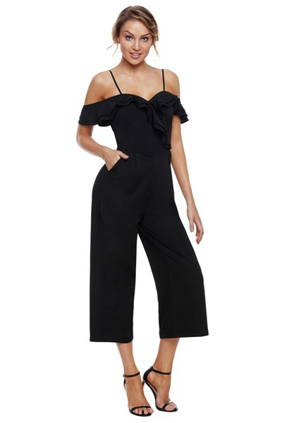 2018 Summer Long Playsuit Summer Womens Ankle-Length Pant Black Ruffle Neckline Straps Wide Leg Rompers with Pockets Jumpsuits