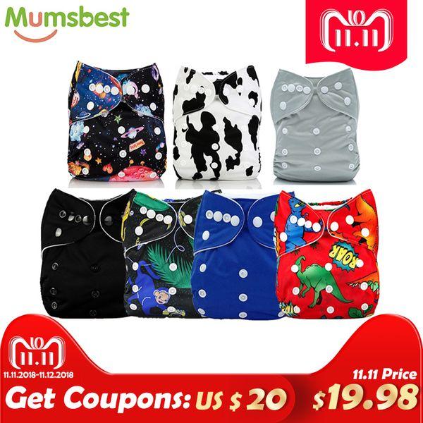 [Mumsbest] 7 Unids / lote Baby Boy Dinosaurio Pañal de bolsillo Colores negros Talla de bolsillo de bolsillo Pañal Mumsbest Pañales