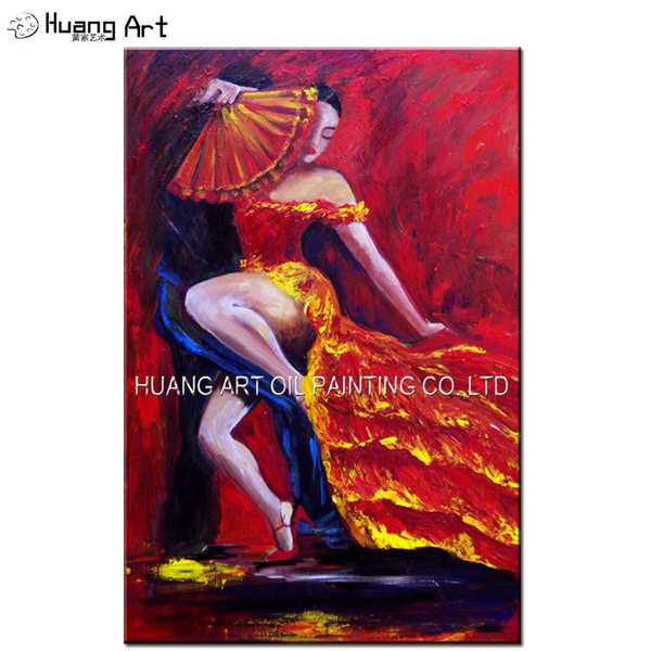 Hand-painted High Quality Impression Hot Flamenco Dancer Oil Painting on Canvas Sexy Women Hold Fan Dancing With Man Painting