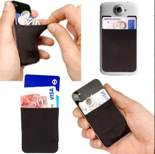Lycra Cell Phone wallet Credit Card Holder Pocket Adhesive Sticker Back Cover Credit Card Holder Pouch Pocket Compatible for iPhone Samsung