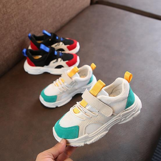 Best selling spring and autumn children s shoes boys and girls color matching sports children s breathable casual shoes.
