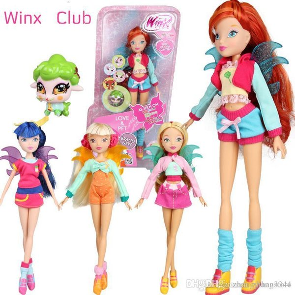 Love Pet &City Girl Winx Club Doll rainbow colorful girl Action Figures Fairy Bloom Dolls with Classic Toys For Girls Gift
