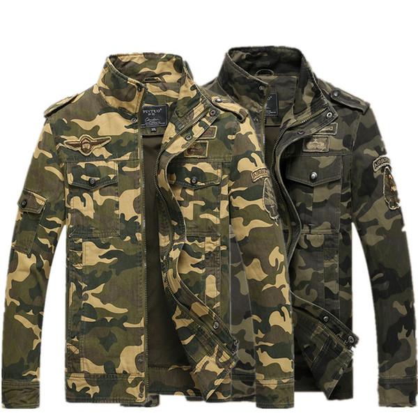 Outono Mens Designer Jaqueta de impressão de camuflagem Casuais exército verde / jaqueta jaqueta khaki uniforme militar outerwear dos homens