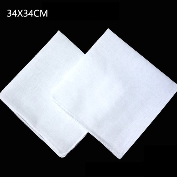 Wholesale white handkerchief, plain white square scarf, can tie dye painting DIY printing, 34X34CM free shipping