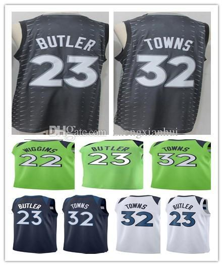 new product a8ec6 6f46e 2018 2018 New Season Cheap #23 Jimmy Butler Jersey Blue White Green 22  Andrew Wiggins 32 Karl Anthony Towns City Edition Basketball Jerseys From  ...