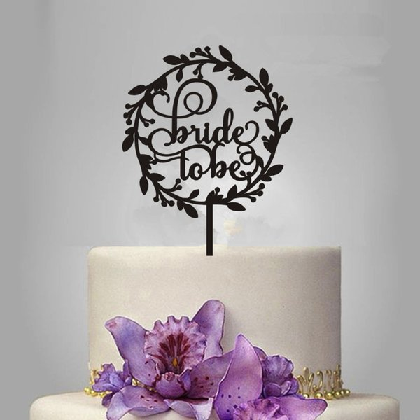 Wedding Wreath Bride to be Wedding Acrylic Cake Topper Decorating Rose Gold Wooden Bridal Shower Love Cake Topper