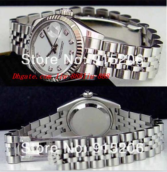 Hochwertige Luxusuhren Damen 18k White Diamond 179174 Automatic Damen Sport Handgelenk Weiß Perlmutt haben