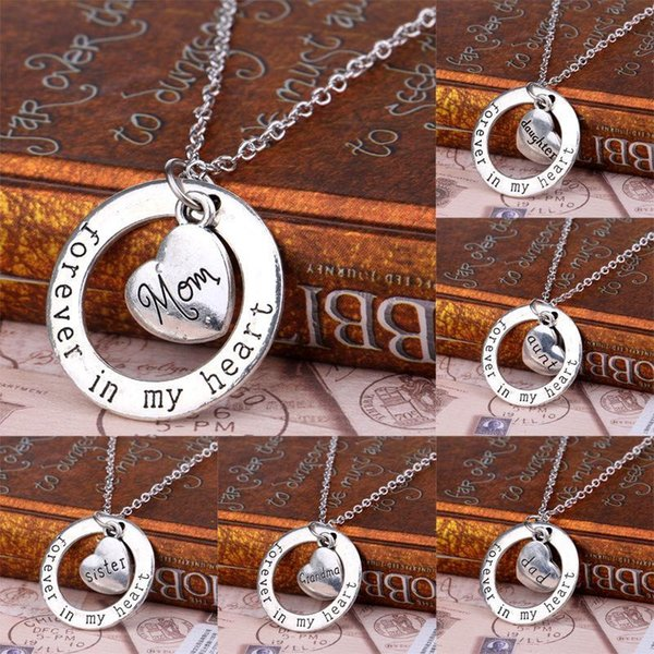 Newest Fashion Silver Plated Forever In My Heart Family Member Gifts Heart Circle Pendant Charm Necklace Jewelry Xmas Gifts 10 Styles
