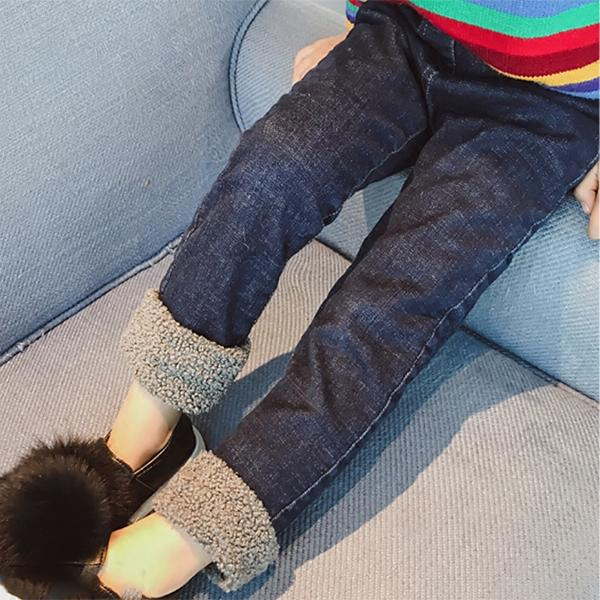 Children clothing autumn and winter new kids girls plus velvet jeans female baby casual thickening trousers