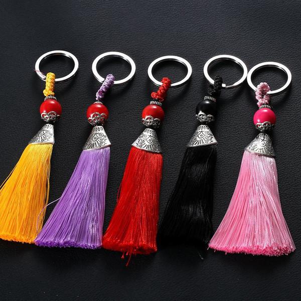 Buy Bulk From China Korea creative Keychain ornaments, metal fish mouth ice silk, color fringed tassel key chain pendant wholesale