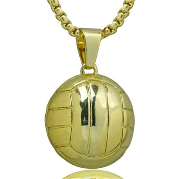 3D Sporty Necklace Volleyball Pendant With Stainless Steel Snake Chain Necklace Rhodium Plated Men Sport Ball Jewelry 2018