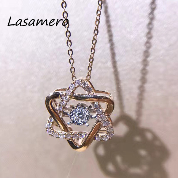 LASAMERO Halo Hexagon Two Triangle Shape 0.174CTW Round Cut 18k Gold Natural Diamond Accents Dainty Pendant Necklace Chain S923