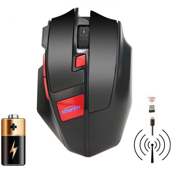 W2 Wireless Wiederaufladbare 2,4G 1600 DPI Lumineszenz Top Hintergrundbeleuchtung Gaming Maus Einstellbar 6 Tasten Spiel Mäuse Für LoL / CF